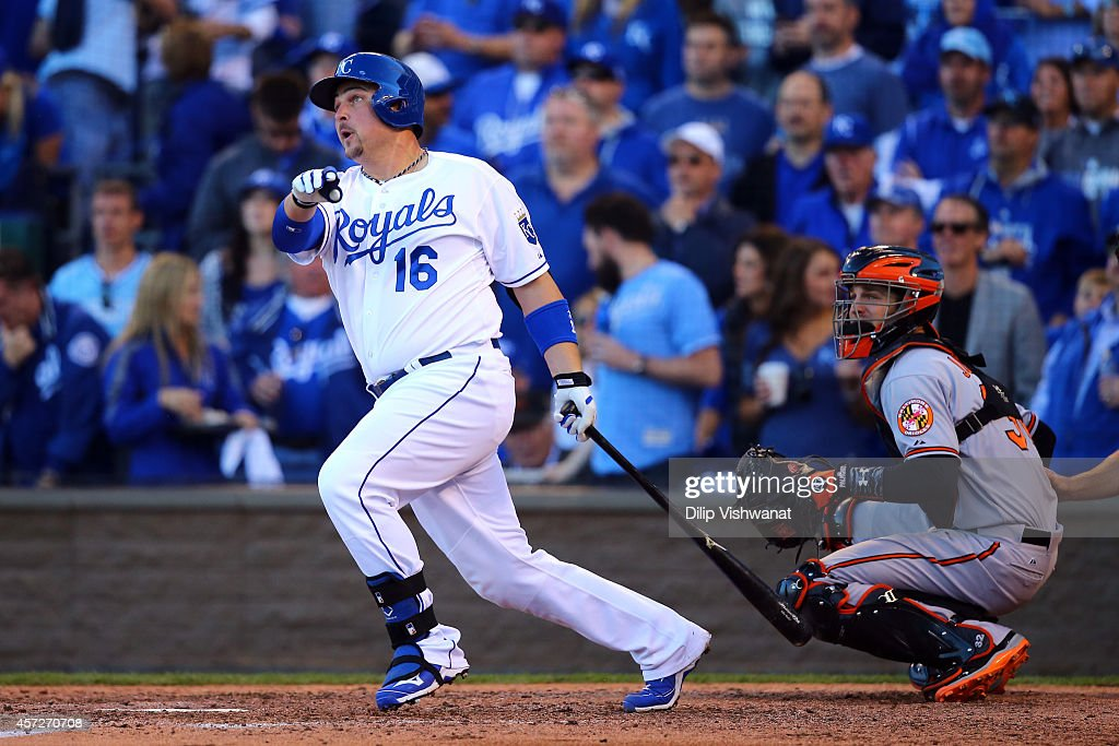 <a gi-track='captionPersonalityLinkClicked' href=/galleries/search?phrase=Billy+Butler&family=editorial&specificpeople=759092 ng-click='$event.stopPropagation()'>Billy Butler</a> #16 of the Kansas City Royals hits a double to left center field in the eighth inning against Andrew Miller #48 of the Baltimore Orioles during Game Four of the American League Championship Series at Kauffman Stadium on October 15, 2014 in Kansas City, Missouri.