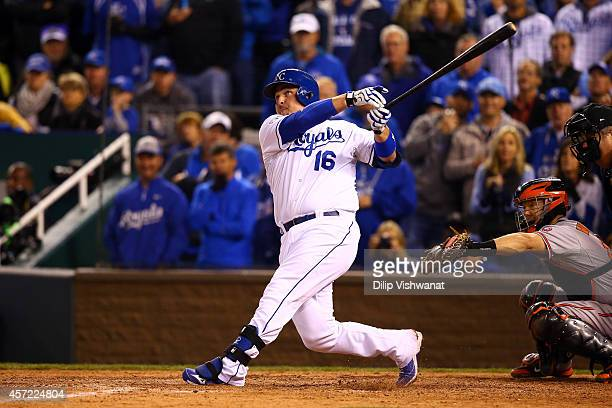 Billy Butler of the Kansas City Royals hits a sacrifice fly to left field to score Jarrod Dyson in the sixth inning against Kevin Gausman of the...