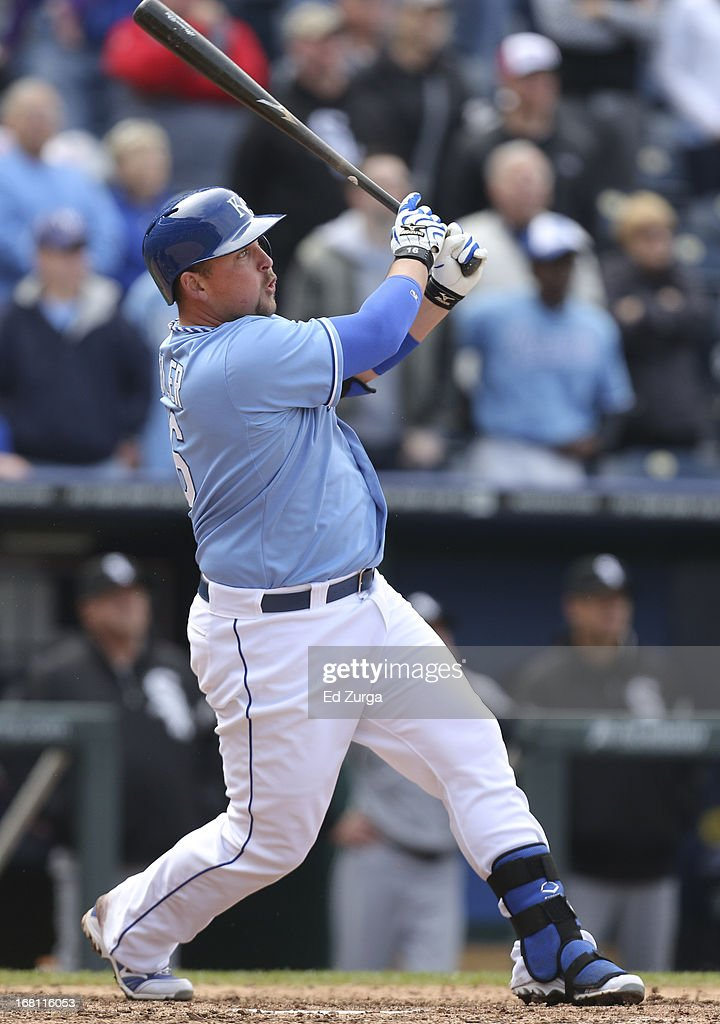 <a gi-track='captionPersonalityLinkClicked' href=/galleries/search?phrase=Billy+Butler&family=editorial&specificpeople=759092 ng-click='$event.stopPropagation()'>Billy Butler</a> #16 of the Kansas City Royals hits a two-run double against the Chicago White Sox in the ninth inning at Kauffman Stadium on May 5, 2013 in Kansas City, Missouri.The Royals 6-5 in 10 inning.