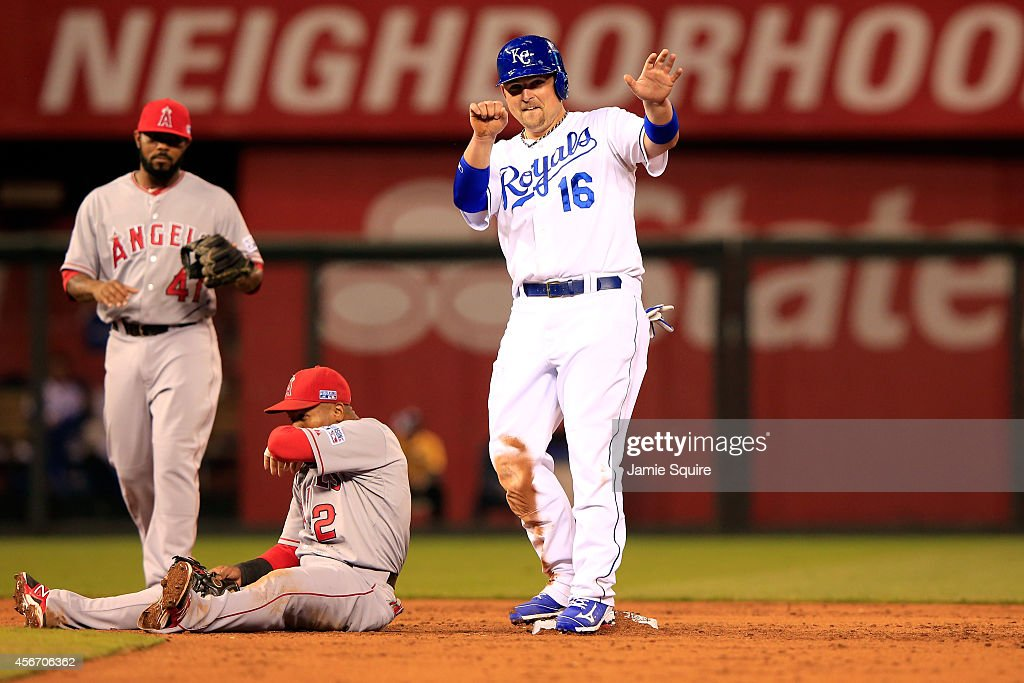 Billy Butler #16 of the Kansas City Royals reacts after stealing second base against Erick Aybar #2 of the Los Angeles Angels in the third inning during Game Three of the American League Division Series at Kauffman Stadium on October 5, 2014 in Kansas City, Missouri.
