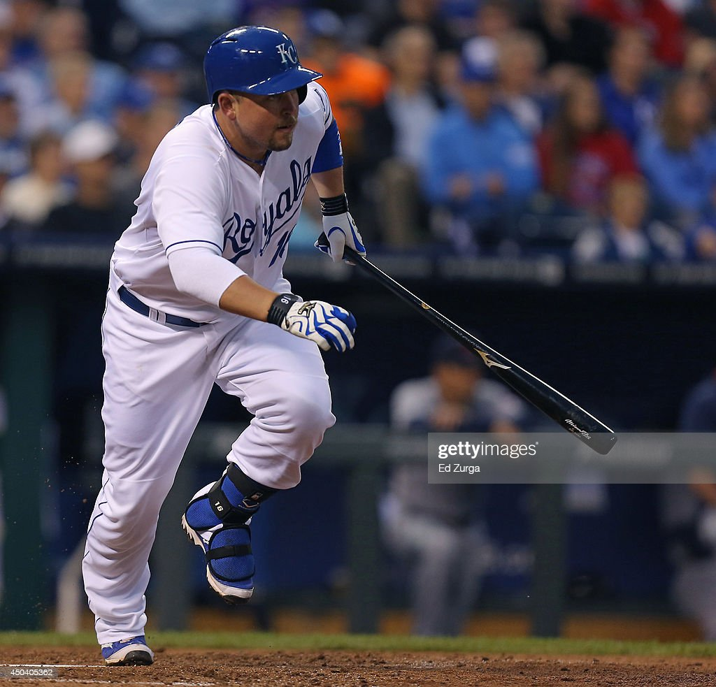 Billy Butler #16 of the Kansas City Royals runs to first after hitting a RBI single in the third inning against the Cleveland Indians at Kauffman Stadium on June 10, 2014 in Kansas City, Missouri.