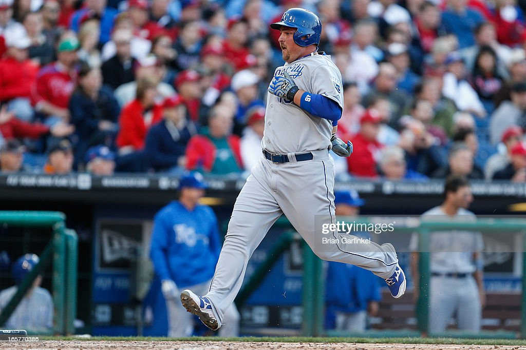 <a gi-track='captionPersonalityLinkClicked' href=/galleries/search?phrase=Billy+Butler&family=editorial&specificpeople=759092 ng-click='$event.stopPropagation()'>Billy Butler</a> #16 of the Kansas City Royals scores a run in the sixth inning of the Opening Day game against the Philadelphia Phillies at Citizens Bank Park on April 5, 2013 in Philadelphia, Pennsylvania. The Royals won 13 to 4.
