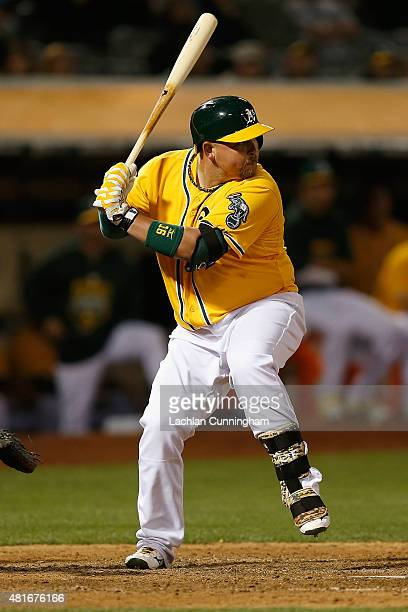 Billy Butler of the Oakland Athletics at bat in the ninth inning against the Minnesota Twins at Oco Coliseum on July 17 2015 in Oakland California