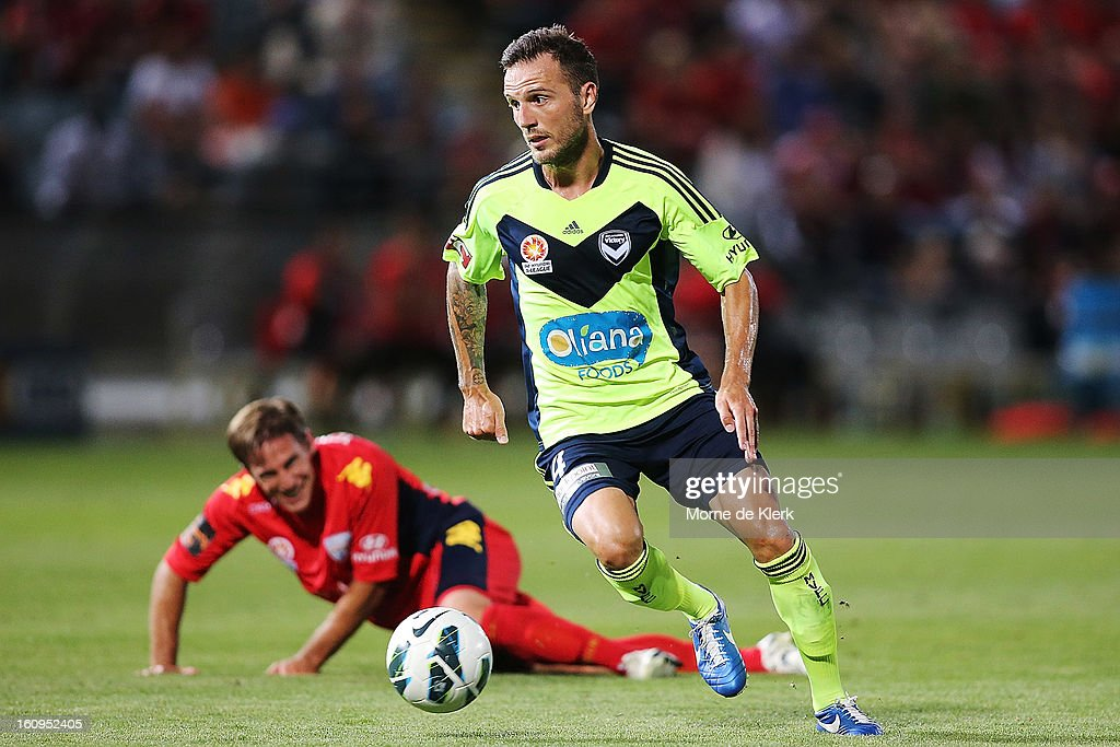 Billy Celeski of Melbourne runs with the ball during the round 20 A-League match between Adelaide United and the Melbourne Victory at Hindmarsh Stadium on February 8, 2013 in Adelaide, Australia.