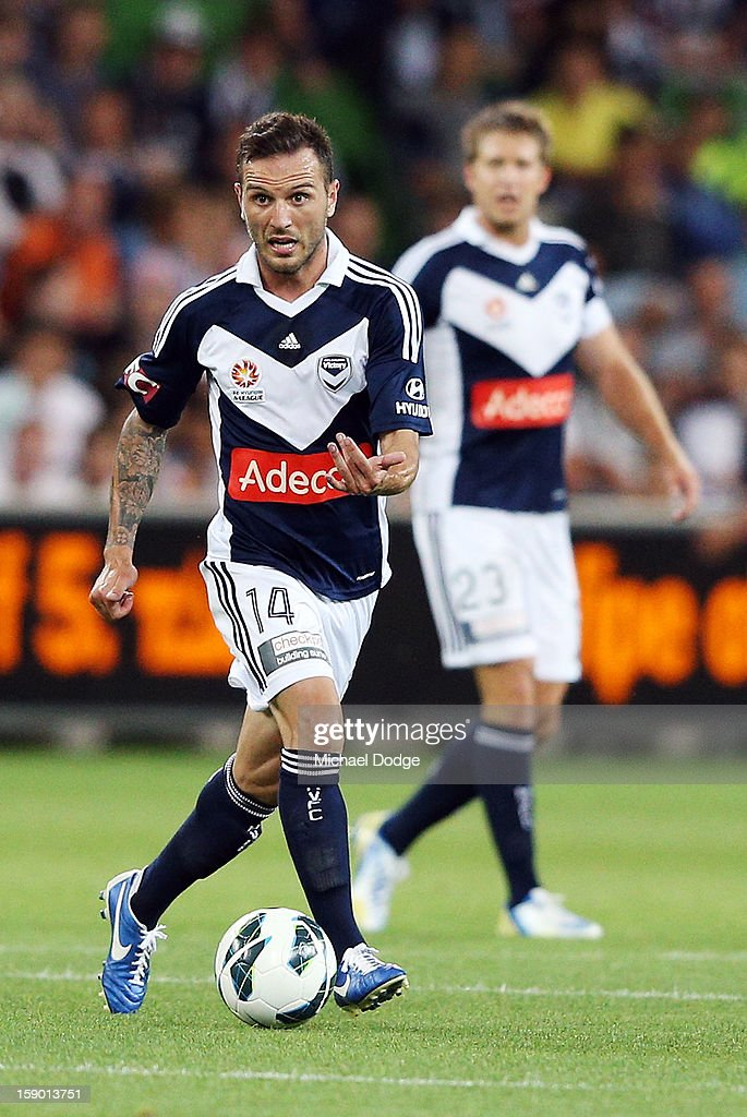 Billy Celeski of the Melbourne Victory runs with the ball during the round 15 A-League match between the Melbourne Victory and Wellington Phoenix at AAMI Park on January 5, 2013 in Melbourne, Australia.