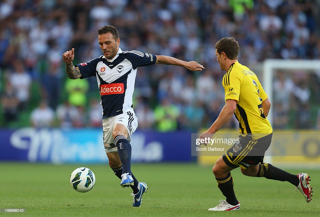 Billy Celeski of the Victory competes for the ball during the round 15 A-League match between the Melbourne Victory and Wellington Phoenix at AAMI Park on January 5, 2013 in Melbourne, Australia.