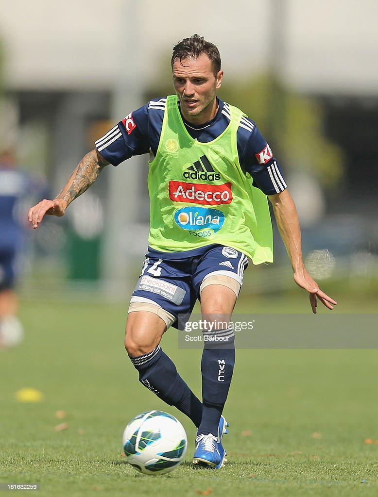 Billy Celeski of the Victory controls the ball during a Melbourne Victory A-League training session at Gosch's Paddock on February 14, 2013 in Melbourne, Australia.