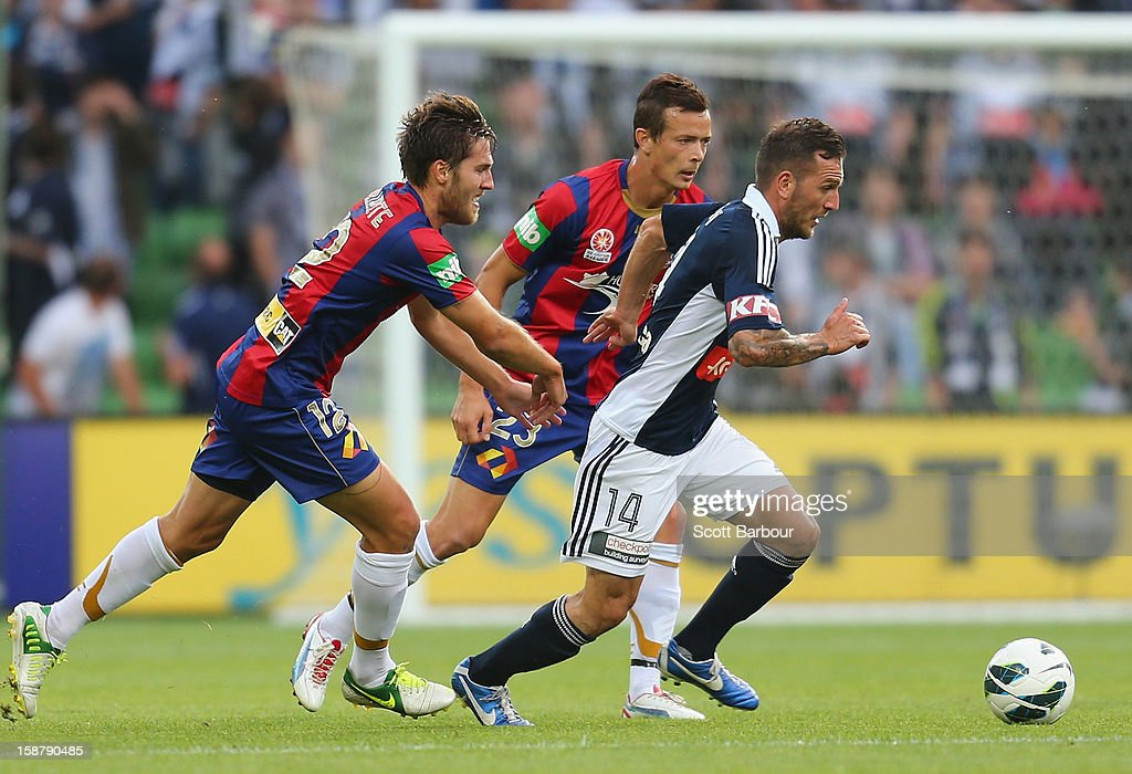 Billy Celeski of the Victory controls the ball during the round 13 A-League match between the Melbourne Victory and the Newcastle Jets at AAMI Park on December 28, 2012 in Melbourne, Australia.