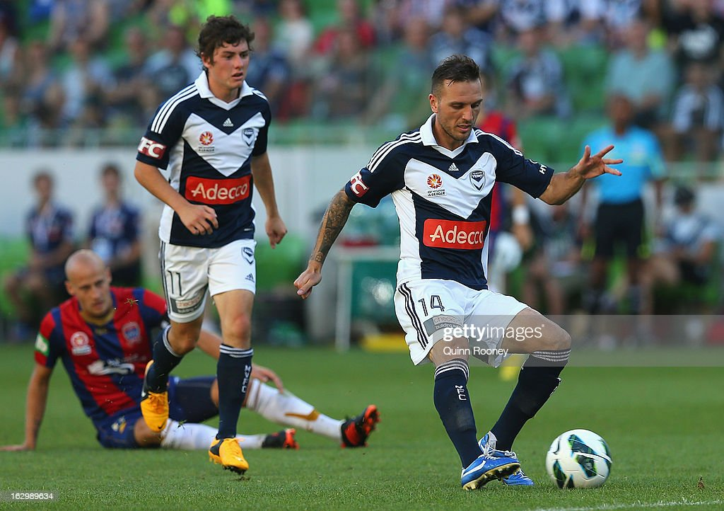 Billy Celeski of the Victory shoots for goal during the round 23 A-League match between the Melbourne Victory and the Newcastle Jets at AAMI Park on March 3, 2013 in Melbourne, Australia.