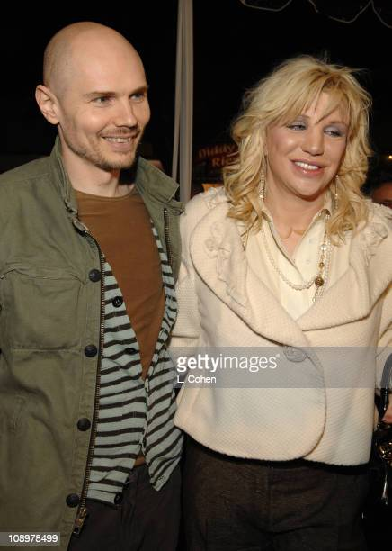 Billy Corgan and Courtney Love during 'Freedom Writers' Los Angeles Premiere Red Carpet at Village Mann in Westwood California United States