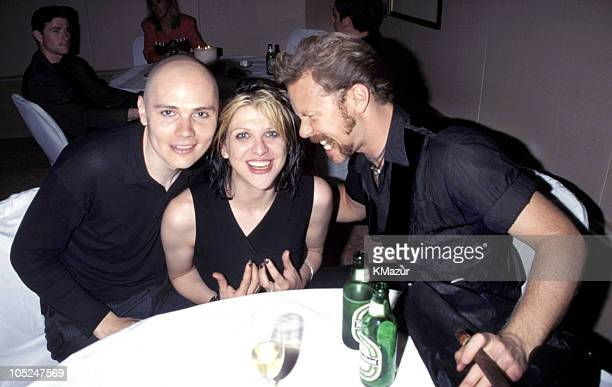 Billy Corgan Courtney Love and James Hetfield during 1996 MTV Video Music Awards at Radio City Music Hall in New York City New York United States