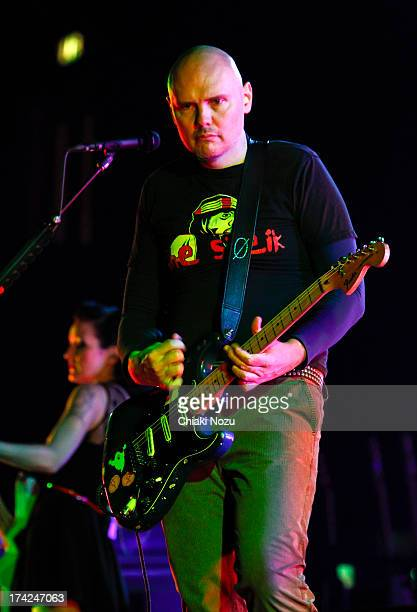 Billy Corgan of Smashing Pumpkins performs at Wembley Arena on July 22 2013 in London England