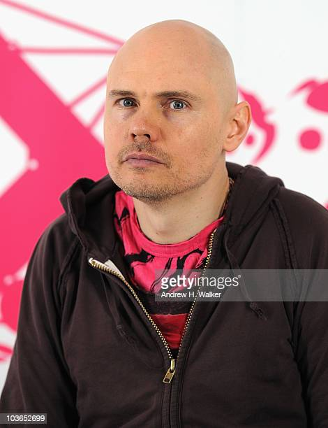 Billy Corgan of the band The Smashing Pumpkins visits the press room during the 2010 MTV World Stages concert at the Auditorio Nacional on August 26...