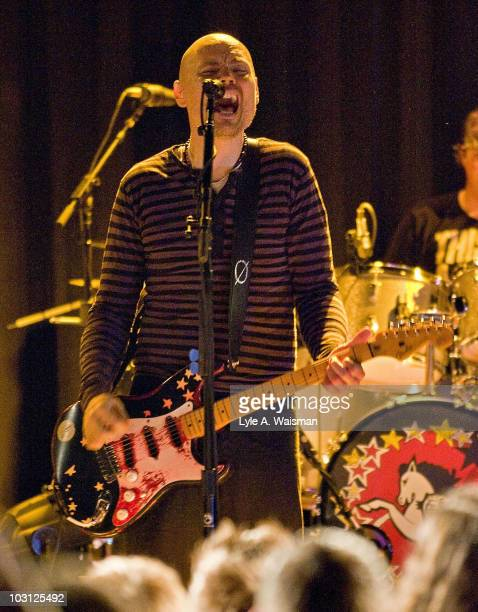 Billy Corgan of the Smashing Pumpkins performs during a Benefit Concert for Matthew Leone of the band Madina Lake at Metro on July 27 2010 in Chicago...