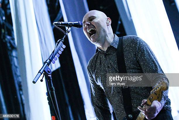 Billy Corgan of The Smashing Pumpkins performs during ' The End Times Tour' at Ascend Amphitheater on August 9 2015 in Nashville Tennessee