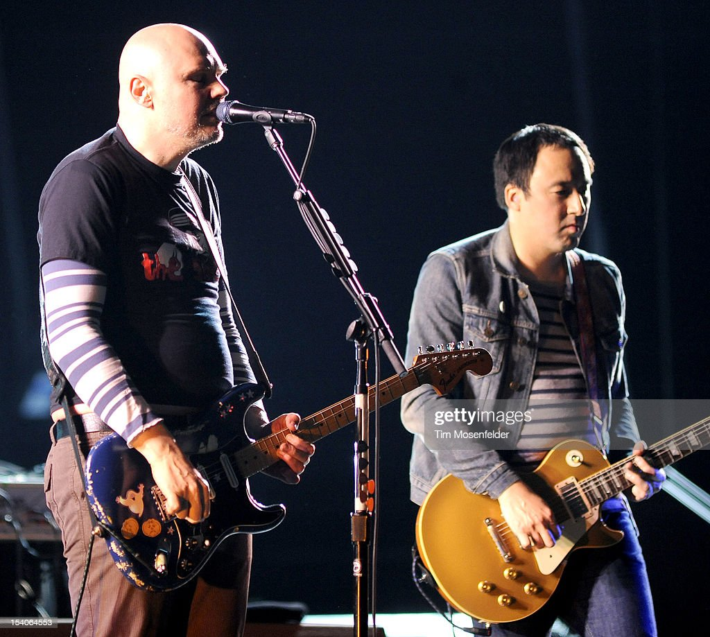 <a gi-track='captionPersonalityLinkClicked' href=/galleries/search?phrase=Billy+Corgan&family=editorial&specificpeople=210832 ng-click='$event.stopPropagation()'>Billy Corgan</a> (L) of The Smashing Pumpkins performs in support of the bands' Oceana release at the Bill Graham Civic Auditorium on October 12, 2012 in San Francisco, California.