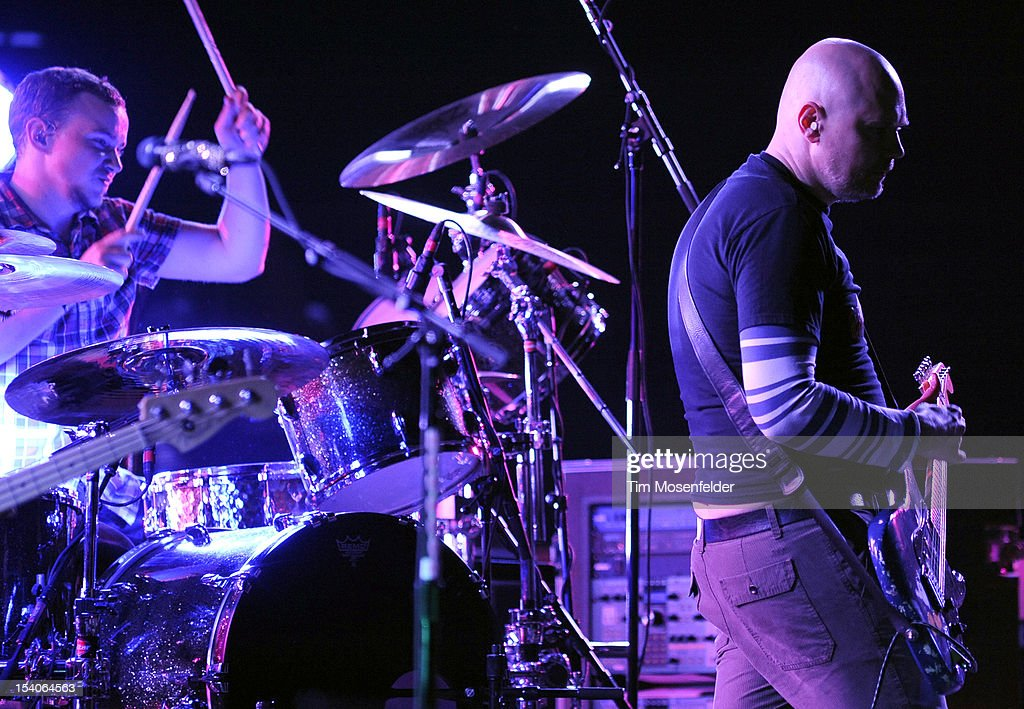 Billy Corgan (R) of The Smashing Pumpkins performs in support of the bands' Oceana release at the Bill Graham Civic Auditorium on October 12, 2012 in San Francisco, California.