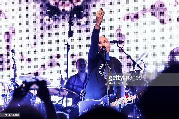 Billy Corgan of The Smashing Pumpkins performs on stage at Manchester Academy on July 1 2013 in Manchester England