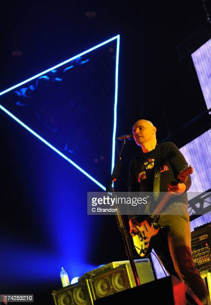 Billy Corgan of The Smashing Pumpkins performs on stage at Wembley Arena on July 22 2013 in London England