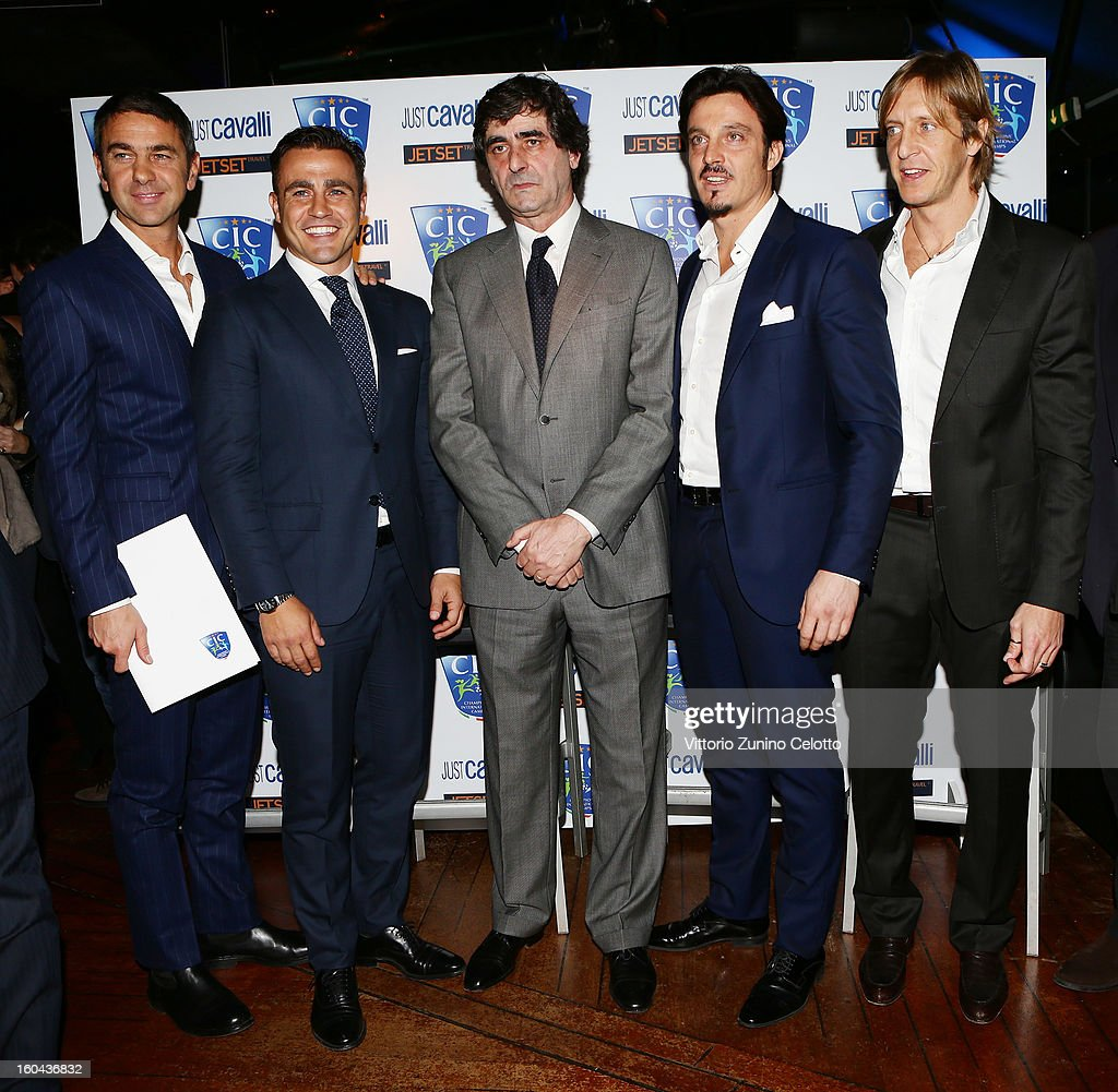 Billy Costacurta, Fabio Cannavaro, Paolo Taveggia, Massimo Oddo, Massimo Ambrosini attend C.I.C. Champions' International Camps photocall at Just Cavalli Cafe on January 31, 2013 in Milan, Italy.