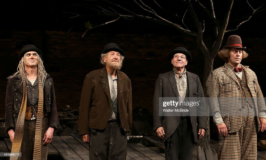 Billy Cruduo, Ian McKellen, Patrick Stewart and Shuler Hensley during the Opening Night Curtain Call for 'Waiting For Godot' at the Cort Theatre on November 24, 2013 in New York City.