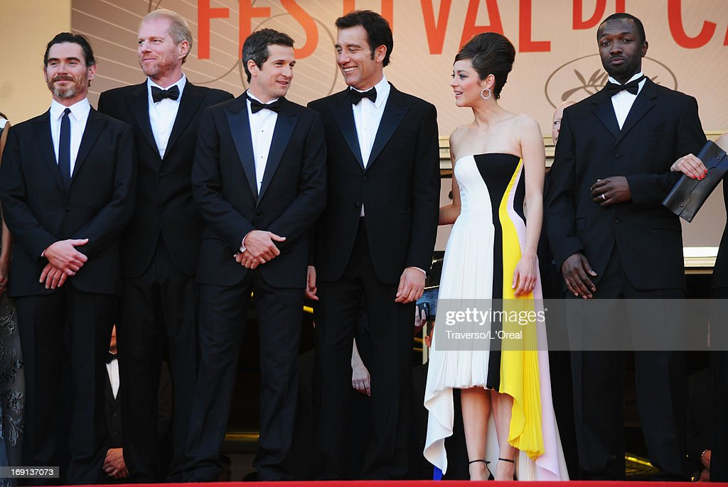 Billy Crudup, Noah Emmerich, Guillaume Canet, Clive Owen, Marion Cotillard, and Jamie Hector attend the 'Blood Ties' Premiere during the 66th Annual Cannes Film Festival at the Palais des Festivals on May 20, 2013 in Cannes, France.