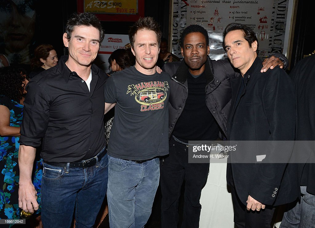 Billy Crudup, Sam Rockwell, Chris Rock and Yul Vazquez at LAByrinth Theater Company Celebrity Charades 2013 Benefit Gala at Capitale on January 14, 2013 in New York City.