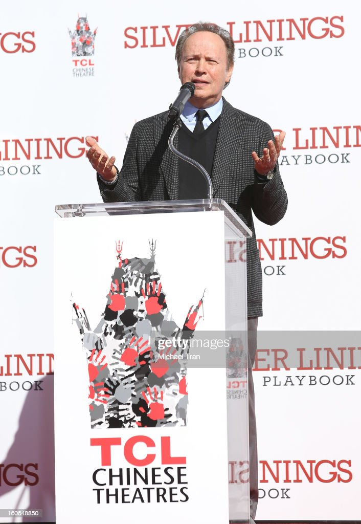 <a gi-track='captionPersonalityLinkClicked' href=/galleries/search?phrase=Billy+Crystal&family=editorial&specificpeople=202497 ng-click='$event.stopPropagation()'>Billy Crystal</a> speaks at the hand and footprint ceremony held in conjunction with the film 'Silver Linings Playbook' held at TCL Chinese Theatre on February 4, 2013 in Hollywood, California.
