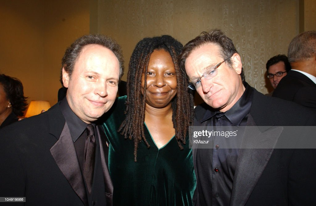 <a gi-track='captionPersonalityLinkClicked' href=/galleries/search?phrase=Billy+Crystal&family=editorial&specificpeople=202497 ng-click='$event.stopPropagation()'>Billy Crystal</a>, <a gi-track='captionPersonalityLinkClicked' href=/galleries/search?phrase=Whoopi+Goldberg&family=editorial&specificpeople=202463 ng-click='$event.stopPropagation()'>Whoopi Goldberg</a>, and <a gi-track='captionPersonalityLinkClicked' href=/galleries/search?phrase=Robin+Williams+-+Actor&family=editorial&specificpeople=174322 ng-click='$event.stopPropagation()'>Robin Williams</a> backstage; 'On Stage at the Kennedy Center: The Mark Twain Prize' will air November 21, at 9 p.m. on PBS.