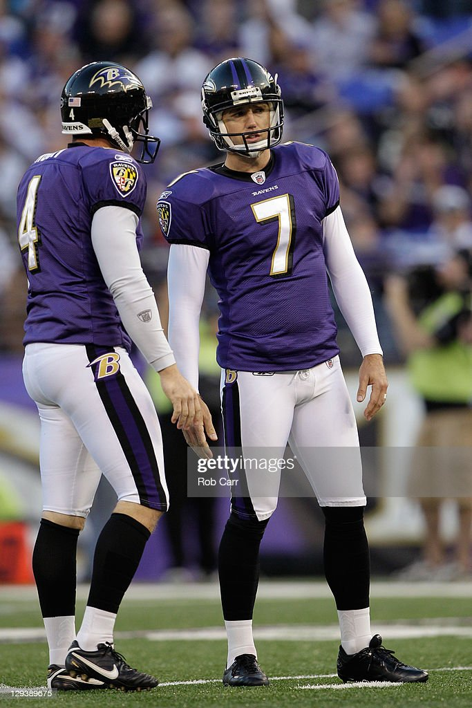 Billy Cundiff #7 of the Baltimore Ravens and teammate Sam Koch #4 look on after Cundiff kicked a field goal against the Houston Texans at M&T Bank Stadium on October 16, 2011 in Baltimore, Maryland.