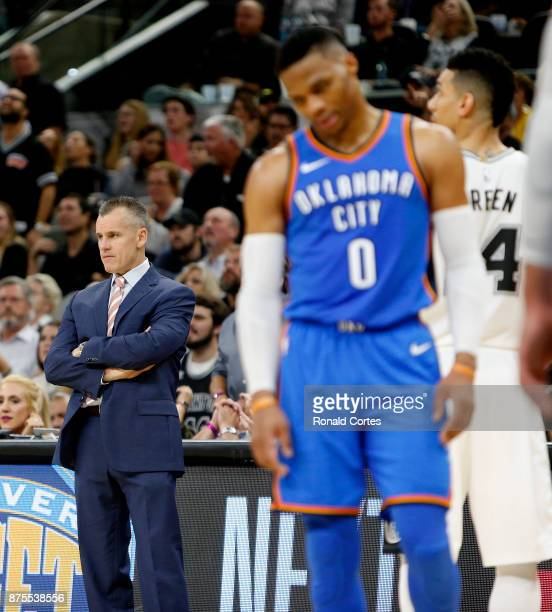 Billy Donovan looks on as does Russell Westbrook of the Oklahoma City Thunder late in game against the San Antonio Spurs at ATT Center on November 17...