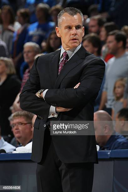 Billy Donovan of the Oklahoma City Thunder coaches against the Denver Nuggets during a preseason game on October 18 2015 at the Chesapeake Energy...