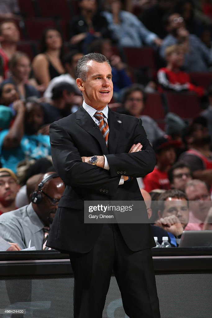 Billy Donovan of the Oklahoma City Thunder during the game against the Chicago Bulls on November 5, 2015 at the United Center in Chicago, Illinois.