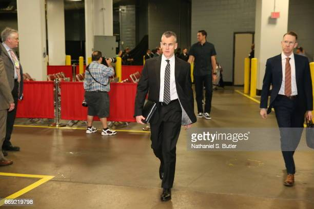 Billy Donovan of the Oklahoma City Thunder enters the arena before the game against the Houston Rockets during the Western Conference Quarterfinals...