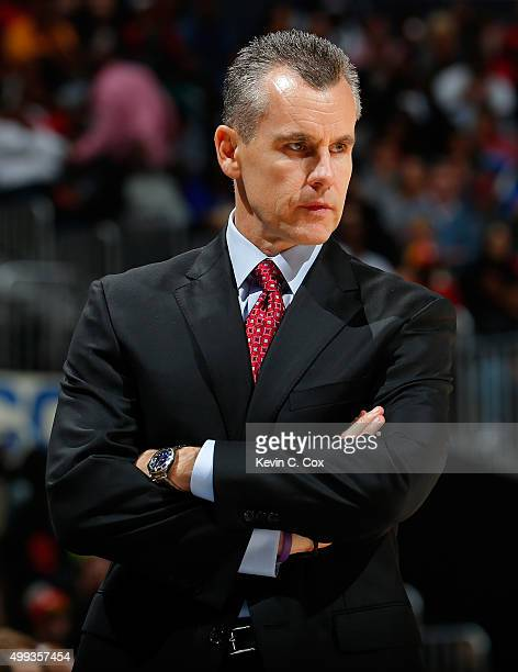 Billy Donovan of the Oklahoma City Thunder looks on during the game against the Atlanta Hawks at Philips Arena on November 30 2015 in Atlanta Georgia...