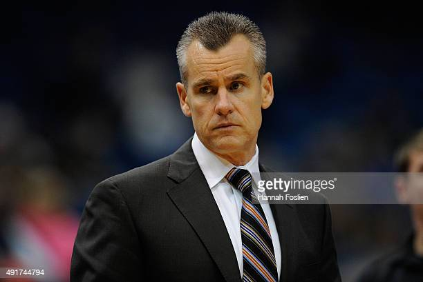 Billy Donovan of the Oklahoma City Thunder looks on during the third quarter of the preseason game against the Minnesota Timberwolves on October 7...