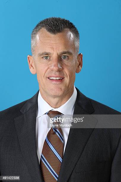 Billy Donovan of the Oklahoma City Thunder poses for a head shot during 2015 NBA Media Day on September 28 2015 at the Thunder Events Center in...