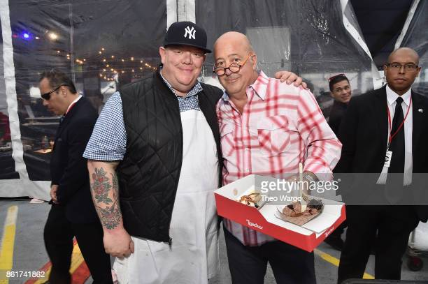 Billy Durney of Hometown BarBQue and Andrew Zimmern attend the Food Network Cooking Channel New York City Wine Food Festival Presented By CocaCola...
