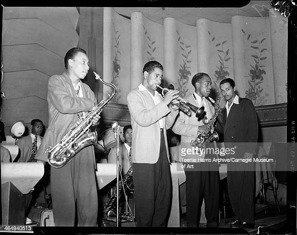 Billy Eckstine orchestra with Lucky Thompson Dizzy Gillespie Charlie Parker and Billy Eckstine performing in the Aragon Ballroom at 628 Penn Avenue...