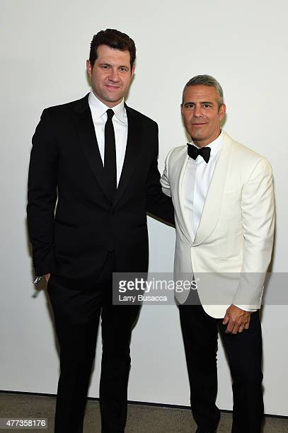 Billy Eichner and Andy Cohen attend the 2015 amfAR Inspiration Gala New York at Spring Studios on June 16 2015 in New York City