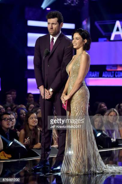 Billy Eichner and Jenna DewanTatum onstage during the 2017 American Music Awards at Microsoft Theater on November 19 2017 in Los Angeles California
