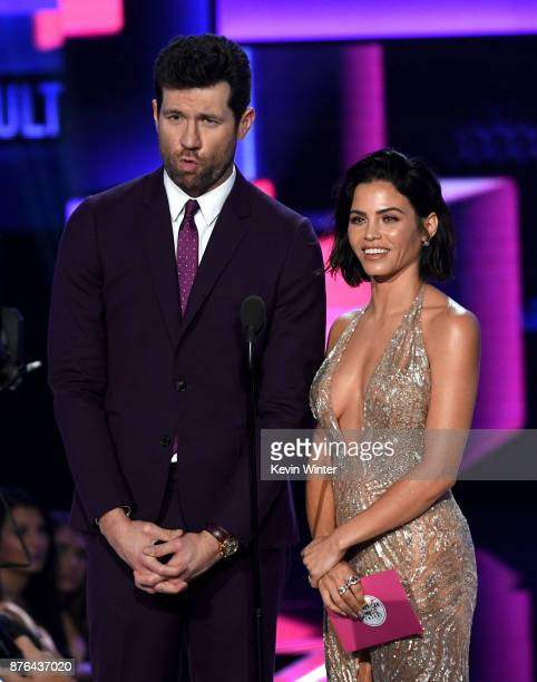 Billy Eichner and Jenna DewanTatum speak onstage during the 2017 American Music Awards at Microsoft Theater on November 19 2017 in Los Angeles...