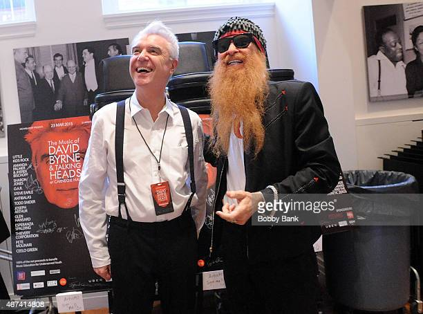 Billy F Gibbons of ZZ Top and David Byrne of Talking Heads performs The Music of David Byrne Talking Heads Rehearsals at Carnegie Hall on March 23...
