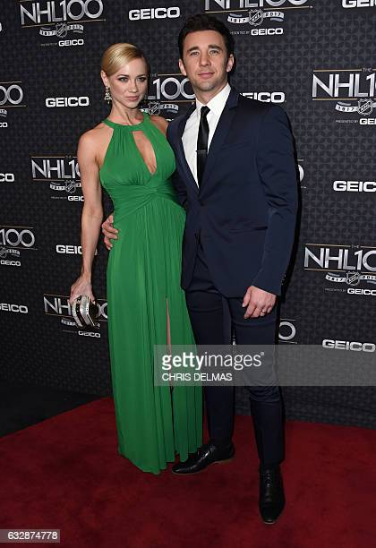 Billy Flynn and wife Comparetto attend the red carpet event for the NHL 100 gala presented by Geico at the Microsoft theatre in Los Angeles on...