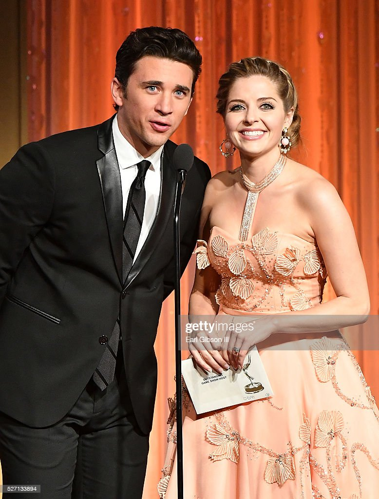 Billy Flynn, left, and <a gi-track='captionPersonalityLinkClicked' href=/galleries/search?phrase=Jen+Lilley&family=editorial&specificpeople=7591259 ng-click='$event.stopPropagation()'>Jen Lilley</a> present the Emmy for Outstanding Game Show Host at the 43rd Annual Daytime Emmy Awards at the Westin Bonaventure Hotel on May 1, 2016 in Los Angeles, California.