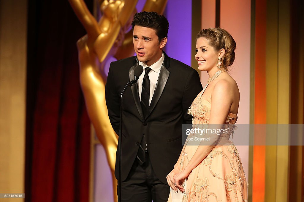 Billy Flynn, left, and <a gi-track='captionPersonalityLinkClicked' href=/galleries/search?phrase=Jen+Lilley&family=editorial&specificpeople=7591259 ng-click='$event.stopPropagation()'>Jen Lilley</a> present the Emmy for Outstanding Game Show Host at the 2016 Daytime Emmy Awards at Westin Bonaventure Hotel on May 1, 2016 in Los Angeles, California.