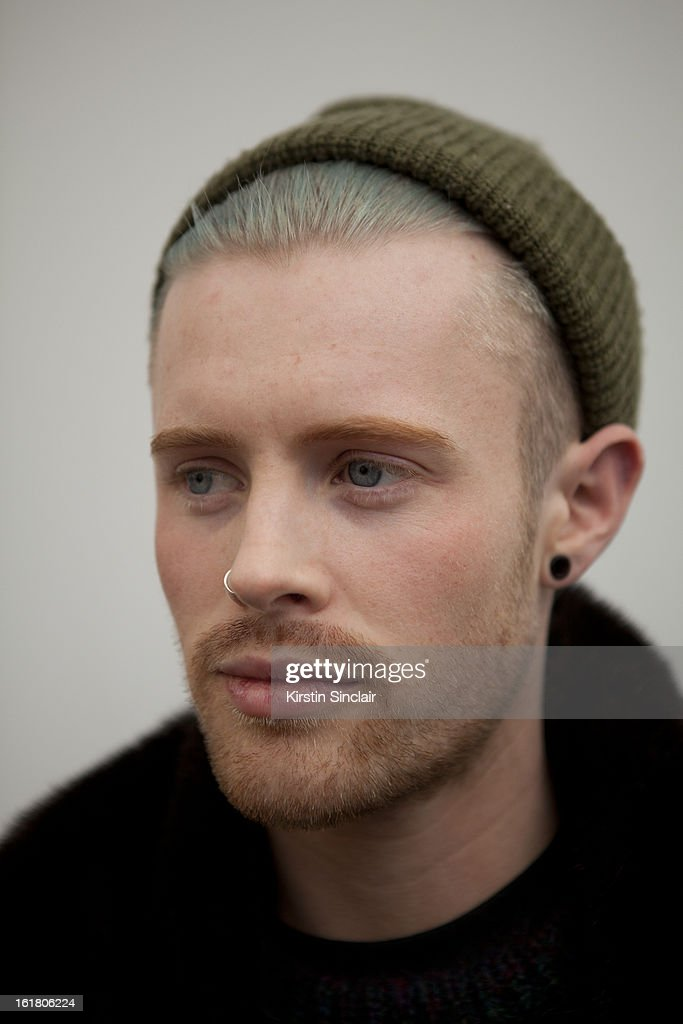 Billy Fry wearing a beanie hat on day 1 of London Womens Fashion Week Autumn/Winter 2013 on February 15, 2013 in London, England.