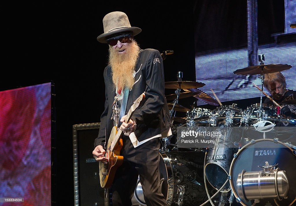 Billy Gibbons and Frank Beard of ZZ Top perform at the Akron Civic Theatre on October 3, 2012 in Akron, Ohio.