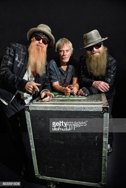 Billy Gibbons Frank Beard and Dusty Hill of ZZ Top pose for a group portrait backstage at Glastonbury Festival United Kingdom 24th June 2016