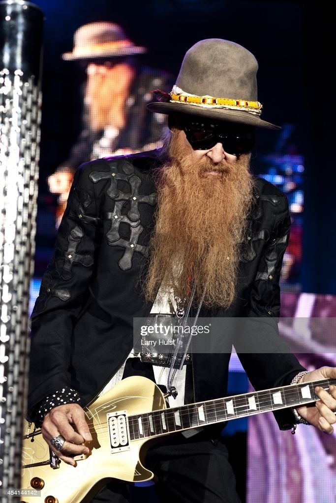 Billy Gibbons is performing with 'Z Z Top' at ' Fiddlers Green in Englewood Colorado on August 20 2014